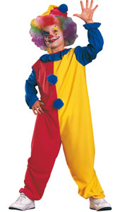 Childs Colourful Clown Costume, includes hat and jumpsuit