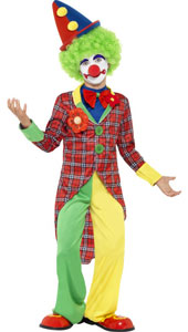 Child Clown Costume, includes jacket, trousers and mock shirt with bow tie. Wig and hat NOT INCLUDED - available separately.