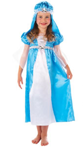 Child Nativity Mary Costume, includes dress with organza, and silver star detailing with headdress