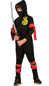 Test your fighting skills as a Japanese Ninja! Steeped in legend, can you match the swordsmanship of your ancient forebears and become a warrior hero, spy and saboteur. Succeed and you will be a worthy Shinobi! Ninja Costume, includes hooded shirt, f