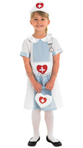 Childs Nurse Costume, includes dress, headpiece and bag