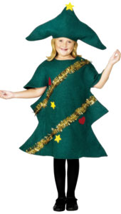 Christmas Tree Costume, includes Green Costume with Tinsel and Stars Design, and hat.