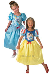 For Princesses that can't decide, this reversible dress brings its own touch of magic. Wear it one day as Cinderella all in blue, or play another day as Snow White, matching puffy sleeves with their red slashes to her signature yellow skirt. Reversible B