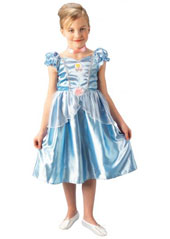 Classic Cinderella Costume, includes pale blue ballgown with glitter print rose detail, and choker.