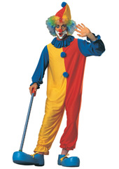 Clown jumpsuit with neck ruffle and hat. WIG, CLOWN SHOES AND NOSE NOT INCLUDED - SOLD SEPARATELY.