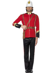 British Colonial Soldier Costume, includes jacket, trousers and hat.