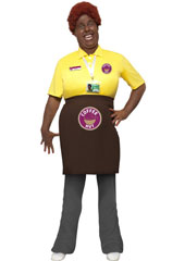Come Fly with Me Precious Coffee Shop Costume, includes stuffed T-Shirt with apron and security badge. WIG SOLD SEPARATELY.