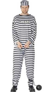 Convict Costume, includes shirt, trousers and hat. HANDCUFFS AND BALL & CHAIN NOT INCLUDED - SOLD SEPARATELY.
