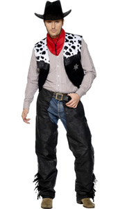 Black Cowboy Leather Look Costume, includes waistcoat, chaps, belt and neckerchief. HAT NOT INCLUDED - sold separately.