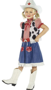 Cowgirl Sweetie Costume, includes dress, vest, scarf, belt and hat.