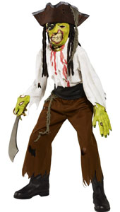 Cut Throat Pirate Costume, includes top, trousers, belt, mask, gloves and hat.