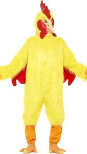 Deluxe Chicken Costume, yellow fur, includes fur body, mask and feet.