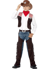 Deluxe Cowboy Costume includes waistcoat, necktie, chaps and hat.