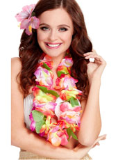 Deluxe Hawaiian Lei, multicoloured with large bright flowers.