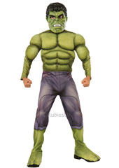 From the Avengers movies, Deluxe Hulk Costume includes fibre filled muscle chest jumpsuit with injection moulded mask.
