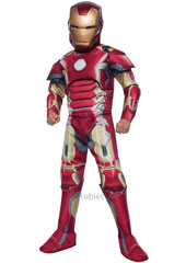 From the Avengers movies, Deluxe Iron Man Mark 43 Costume, includes fibre filled muscle chest jumpsuit with foam accents, boot tops, gauntlets and mask.
