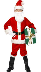 Deluxe Santa Costume, includes jacket, trousers, hat, bootcovers, gloves, belt and beard.