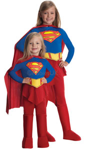 Deluxe Supergirl Child Costume, includes jumpsuit with attached boot tops, belt and cape.