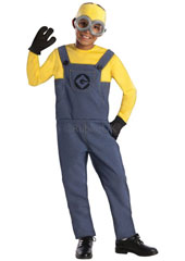 Despicable Me Child Minion Dave Costume, includes jumpsuit, gloves, headpiece and goggles.