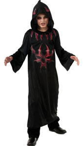 Hood up, arms locked inside its sleeves, get ready to creep about from door to door, trick or treating. When someone answers your knock, stretch out your evil arms to reveal licking flames and the wicked glower of the devil's power! Devil Horror Robe