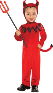 This cute Devil Costume for toddlers features a red jumpsuit with flame details on the collar and an attached tail with a pointed black tip. This adorable costume also comes with an attached hood that has horns to turn toddlers into the cutest little devi