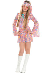 Disco Diva Teen Costume, includes a shimmery, swirl-printed mini dress with long bell sleeves and a blue ribbon closure forming a cute keyhole neckline. Tie on the matching headscarf for a far out look everyone will dig