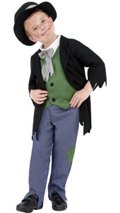 Dodgy Victorian Boy Costume, includes top, trousers and hat.