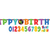 Dots and  Stripes Add-An-Age Birthday Letter Banner. Contains: 1 Banner 2.1m x 27.3cm, 24 Attachable Pieces, 5 PCs Adhesive Tape