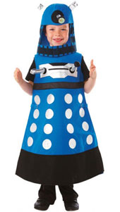 Dr Who Dalek Costume, includes Tabard with printed metallic and foil detailing with hood hat.