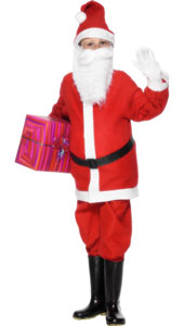 Child Economy Santa Boy Costume with Jacket, Trousers, Hat and Belt. Beard not included.