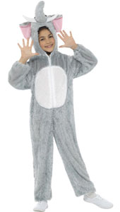 Child Plush Velour Elephant Costume with Hood