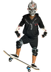 Jump aboard your skate and pull off a few perfect slides, grinds and flip tricks in full spooky Zombie costume, and see how fast folks will scatter. Awesome! Facepaint Costume, includes mask, hoodie, shorts and gloves. SCATEBOARD NOT INCLUDED.