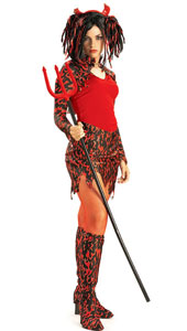 Flame Fatale Costume, includes dress with capelet, boot tops and headpiece with horns.