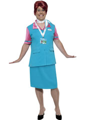 Come Fly with Me Flylo Check In Staff Costume, includes waistcoat with mock shirt, pencil skirt, scarf and lanyard with security badges. WIG NOT INCLUDED - SOLD SEPARATELY.