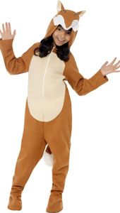 Fox Costume, includes zip up all in one costume with hood and tail.