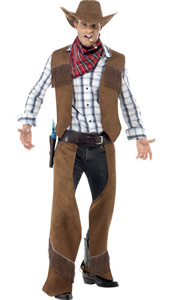 Fringe Cowboy Costume, includes waistcoat, chaps, Neckerchief and Hat.