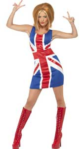 Ginger Power Costume, includes Union Jack Dress. WIG NOT INCLUDED - SOLD SEPARATELY.