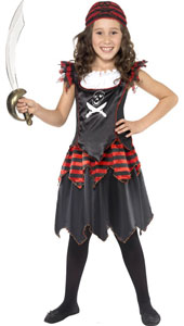 Gothic Pirate Girl Costume, includes dress and headscarf.