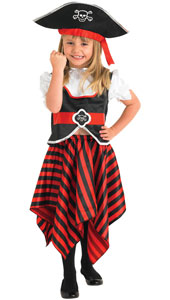 Girl Pirate Costume, includes top, skirt and hat.