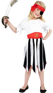 Pirate Girl Costume, includes dress and headband.