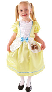 Goldilocks Costume includes dress only. In pastel yellow with attached white apron with a printed bear design. The bodice is ruffled with blue hems and a matching pastel blue bow at the waist, the yellow puff sleeves give the final touch to this fairyta
