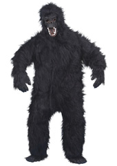 Gorilla Costume, includes black fur fabric costume, mask, hands and feet.