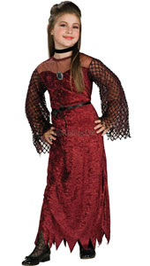 Fishnet sleeves, see-through neckline and a velvet finish to this full-length dress that drops to a zig-zag hem all spell g-o-t-h-i-c. Wear it for Halloween, an Addams Family reunion, or even your school prom folks don't mess with the Goth! Gothic En