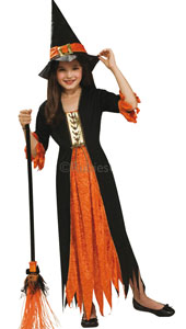 All the colours of Halloween come together under the brim of this witch's hat. Whether you stay at home to welcome your neighbourhood spooks or ride out on your broom to catch the moonlight, you'll turn pumpkin heads tonight Gothic Witch Costume, in