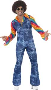 Groovier Dancer Costume, includes denim effect jumpsuit and mock shirt.