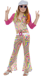 Groovy Glam Girl Costume, includes jumpsuit, belt, jacket and hat.