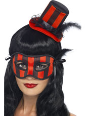 Burlesque Hat & Eyemask Set. Striped Red & Black, with Feather.