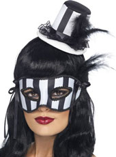 Burlesque Hat & Eyemask Set. Striped White & Black, with Feather.