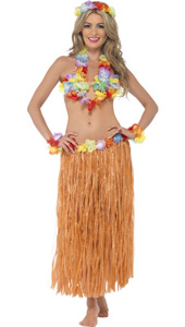 Hula Honey Instant Kit, includes skirt, headpiece, wrist cuffs, lei and bra. One size.