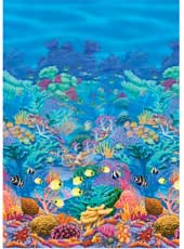 40ft Long Coral Reef Room Roll. Decorates an entire room. Each roll measures 4ft * 50ft (1.22m * 15.24m). Use together with Tropical Sunset, Beach, or another roll of Ocean Blue Room Setters for wall to ceiling coverage. Then simply add scene setter